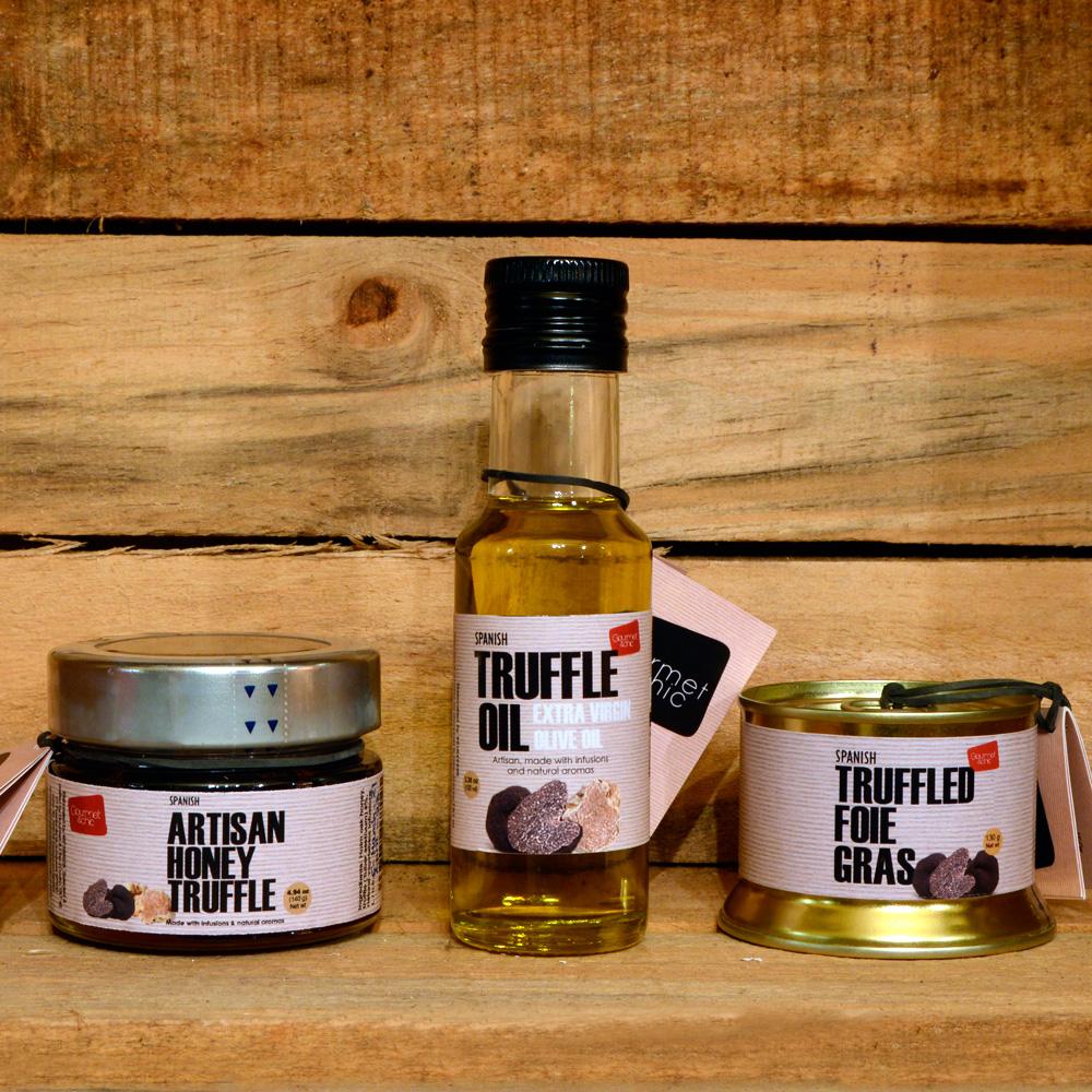 Combinado artesano de Trufa Foie Grass, miel y aceite. Gourmet & Chic.